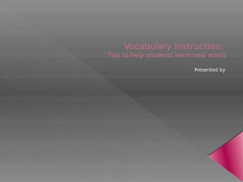 Vocabulary Instruction Power Point