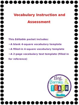 Vocabulary Instruction and Assessment Packet