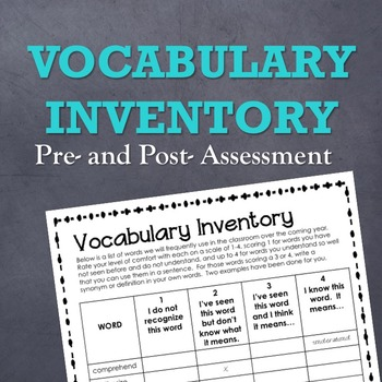 Vocabulary Inventory (Pre- and Post- Vocabulary Assessments)