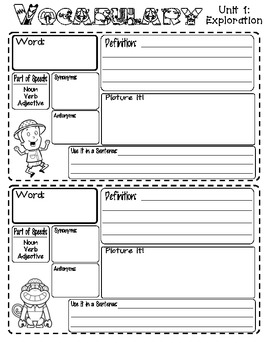 Vocabulary Journal Pages (Reading Street - Unit 1)