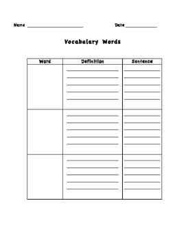 Vocabulary Log/Journal