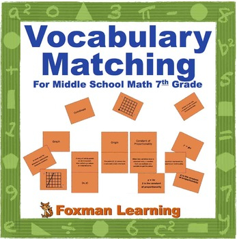 Vocabulary Matching Puzzles for 7th Grade CCSS Math