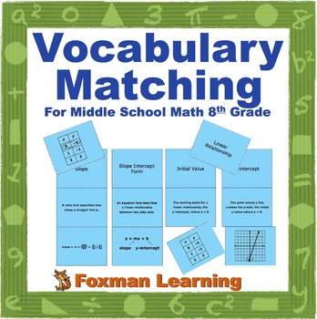 Vocabulary Matching Puzzles for 8th Grade CCSS Math