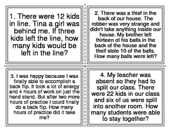 Vocabulary Mixed Addition and Subtraction Word Problem Tas