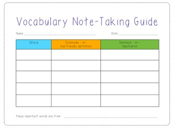 Vocabulary Note Taking Guide Writing Journal Notebook