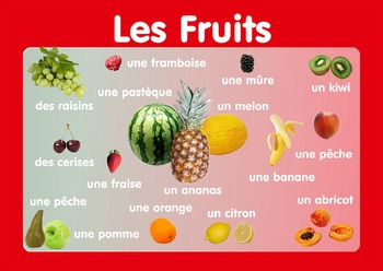 "Vocabulary Poster "" Fruits""  in French. A3 size. Primary French"
