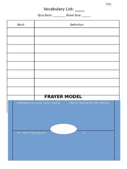 Vocabulary Practice Sheet Graphic Organizer