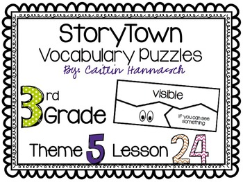 Vocabulary Puzzles StoryTown 3rd Grade Lesson 24