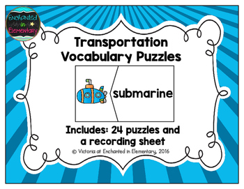 Vocabulary Puzzles: Transportation Set