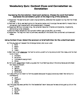Vocabulary Quiz or Practice: Context Clues and Connotation