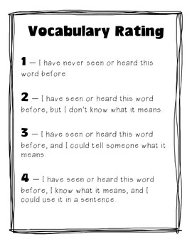 Vocabulary Rating - A Pre-Reading and Post-Reading Vocabul