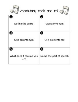 Vocabulary Rock and Roll Spelling and Grammar Game