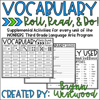 Vocabulary Roll, Read, & Do! Wonders Third Grade Vocabulary Words