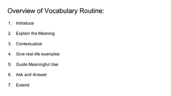 Vocabulary Routine