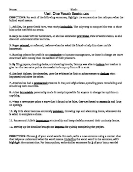 Vocabulary Sentence Worksheets for Prestwick House Latin G