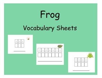 Vocabulary Sheets for Students with Autism - Frogs