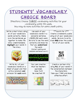 Vocabulary/Spelling HW Choice Board