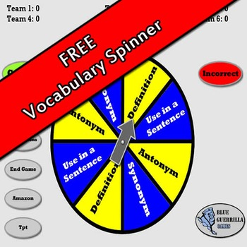Vocabulary Spinner and Scorekeeper