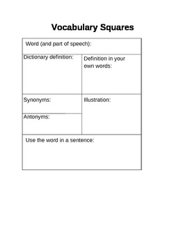 Vocabulary Square for any vocabulary word