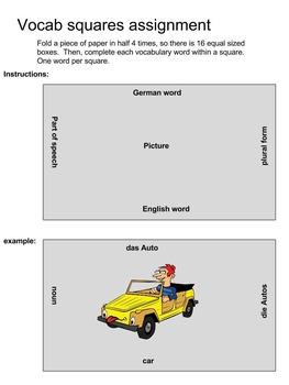 Vocabulary Squares