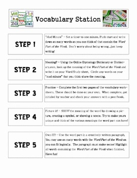Vocabulary Station for Word Parts