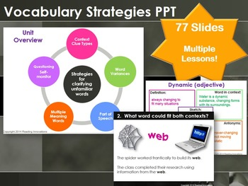 Vocabulary Strategies PPT:  Context clues, multiple meanin