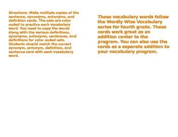 Vocabulary Synonym/Antonym Center Cards