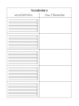 Vocabulary T-chart