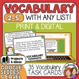 Vocabulary Task Cards - Activities to use with Any List