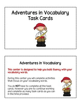 Vocabulary Task Cards Set