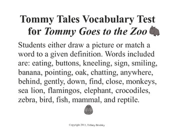 Vocabulary Test for Tommy Goes to the Zoo OR General Words