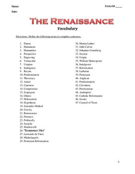 Renaissance Vocabulary List