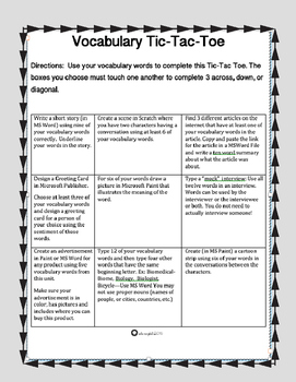Vocabulary Tic Tac Toe Using Microsoft Products