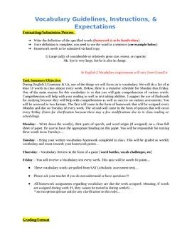 Vocabulary Units (400+/- words)