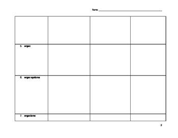 Vocabulary Word Chart for a Cells unit