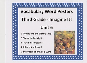 Vocabulary Word Posters Grade 3 Unit 6 Imagine It