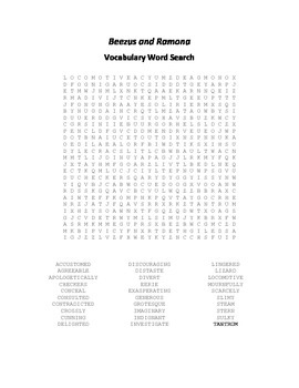 Vocabulary Word Search for Beverly Cleary's Beezus and Ramona