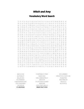 Vocabulary Word Search for Beverly Cleary's Mitch and Amy