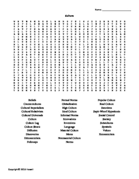 Culture Vocabulary Word Search for Sociology