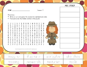 Word Search with ABC Order - What Do Illustrators Do - Jou