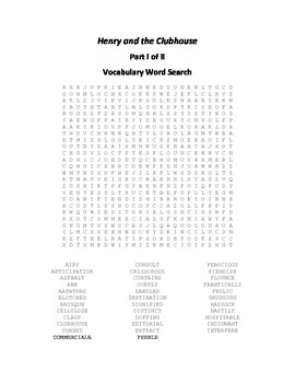 Vocabulary Word Searches for Beverly Cleary's Henry and th