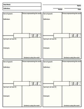Vocabulary Word Squares Worksheet