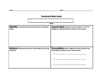 Vocabulary Word Study Beginner Prefunctional ELL ESL Pronu