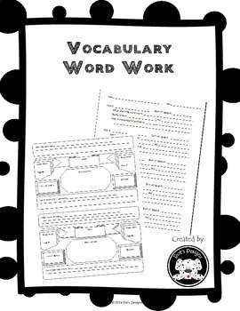 Vocabulary Word  Work and Graphic Organizer for Upper Elem