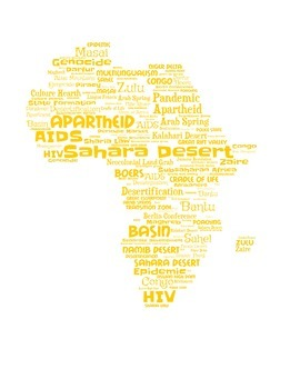 Vocabulary Wordle of all continents