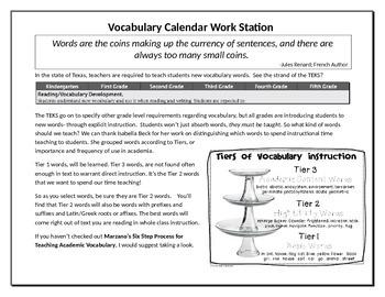 Vocabulary Work Station Calendar