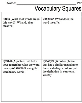Vocabulary Worksheet - Vocabulary Squares