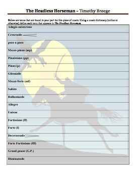 """Vocabulary Worksheet for """"The Headless Horseman"""" by Timoth"""