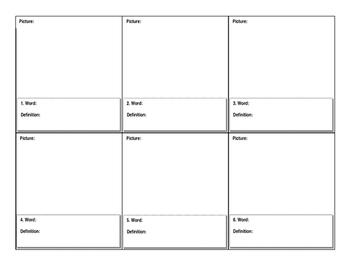 Vocabulary Worksheet - word, draw, define