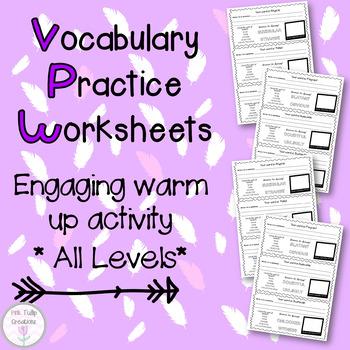 Vocabulary Worksheets Bundle - All 8 Levels, 64 worksheets